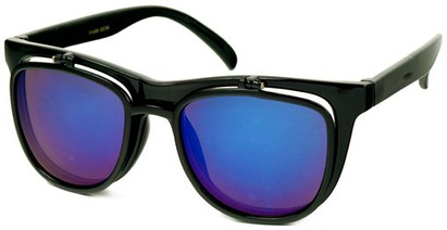 Angle of SW Flip-Up Retro Style #2210 in Black Frame with Blue Mirrored Lenses, Women's and Men's