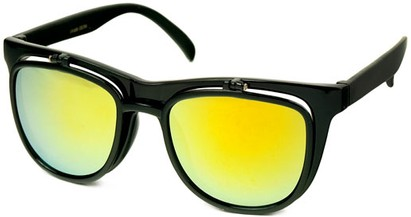 Angle of SW Flip-Up Retro Style #2210 in Black Frame with Yellow Mirrored Lenses, Women's and Men's