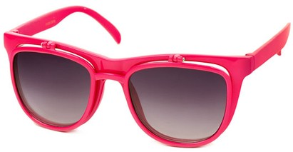 Angle of SW Flip-Up Retro Style #2210 in Hot Pink Frame with Smoke Lenses, Women's and Men's