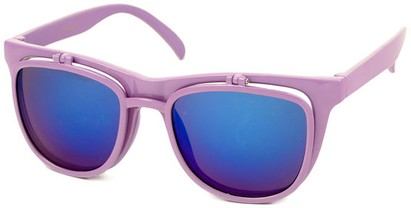 Angle of SW Flip-Up Retro Style #2210 in Light Purple Frame with Blue Mirrored Lenses, Women's and Men's