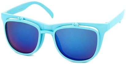 Angle of SW Flip-Up Retro Style #2210 in Light Blue Frame with Blue Mirrored Lenses, Women's and Men's