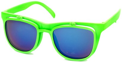 Angle of SW Flip-Up Retro Style #2210 in Lime Green Frame with Blue Mirrored Lenses, Women's and Men's