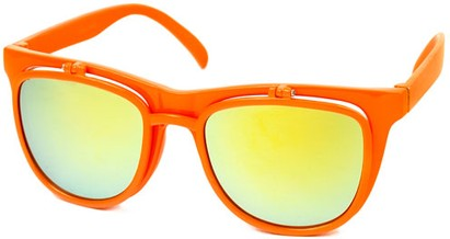 Angle of SW Flip-Up Retro Style #2210 in Orange Frame with Yellow Mirrored Lenses, Women's and Men's
