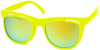 Angle of SW Flip-Up Retro Style #2210 in Yellow Frame with Yellow Mirrored Lenses, Women's and Men's