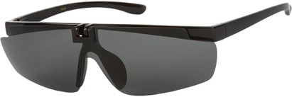 Angle of Lewis #1375 in Glossy Black Frame with Smoke Lenses, Women's and Men's Sport & Wrap-Around Sunglasses