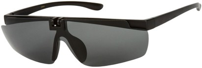 Angle of Lewis #1375 in Matte Black Frame with Smoke Lenses, Women's and Men's Sport & Wrap-Around Sunglasses
