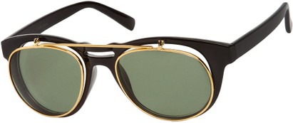 Angle of SW Flip-Up Aviator Style #9973 in Black/Gold Frame with Green Lenses, Women's and Men's