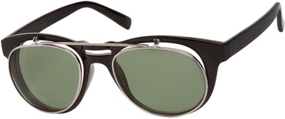 Angle of SW Flip-Up Aviator Style #9973 in Black/Silver Frame with Green Lenses, Women's and Men's