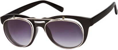 Angle of SW Flip-Up Aviator Style #9973 in Black/Silver Frame with Smoke Lenses, Women's and Men's