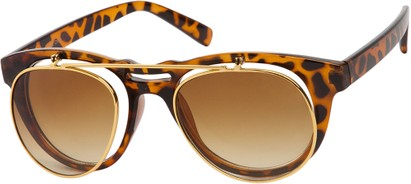 Angle of SW Flip-Up Aviator Style #9973 in Tortoise/Gold Frame with Amber Lenses, Women's and Men's