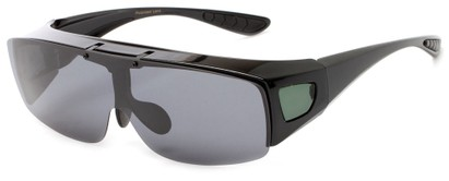 Angle of Sonoran #7668 in Glossy Black with Smoke/Green lenses, Women's and Men's Square Sunglasses