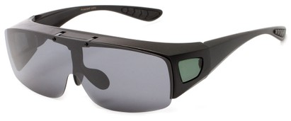 Angle of Sonoran #7668 in Matte Black with Smoke/Green Lenses, Women's and Men's Square Sunglasses