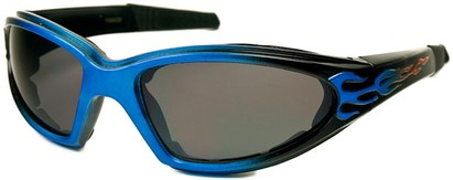 Angle of SW EVA Goggle Style #253 in Blue and Black with Smoke Lenses, Women's and Men's