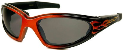 Angle of SW EVA Goggle Style #253 in Orange and Black with Smoke Lenses, Women's and Men's