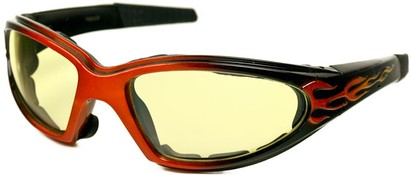Angle of SW EVA Goggle Style #253 in Orange and Black with Yellow Lenses, Women's and Men's