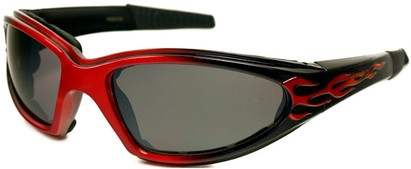 Angle of SW EVA Goggle Style #253 in Red and Black with Smoke Lenses, Women's and Men's
