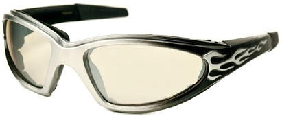 Angle of SW EVA Goggle Style #253 in Silver and Black with Clear Lenses, Women's and Men's