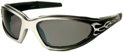 Angle of SW EVA Goggle Style #253 in Silver and Black with Smoke Lenses, Women's and Men's