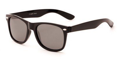 Angle of Buoy #14644 in Black Frame with Grey Lenses, Women's and Men's Retro Square Sunglasses
