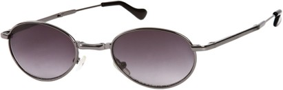 Angle of SW Folding Round Style #1205 in Grey Frame with Smoke Lenses, Women's and Men's