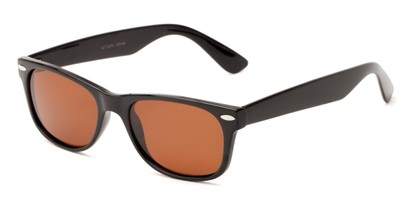 Angle of Freefall #1279 in Black Frame with Amber Lenses, Women's and Men's Retro Square Sunglasses
