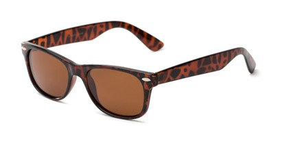 Angle of Freefall #1279 in Tortoise Frame with Amber Lenses, Women's and Men's Retro Square Sunglasses
