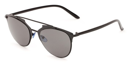 Angle of Westmoore #8294 in Black Frame with Grey Lenses, Women's Round Sunglasses