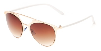 Angle of Westmoore #8294 in Gold/White Frame with Amber Lenses, Women's Round Sunglasses