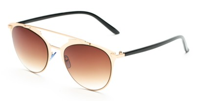 Angle of Westmoore #8294 in Gold/Black Frame with Amber Lenses, Women's Round Sunglasses
