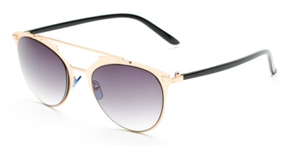 Angle of Westmoore #8294 in Gold/Black Frame with Smoke Lenses, Women's Round Sunglasses