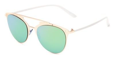 Angle of Westmoore #8294 in Gold/White Frame with Green Mirrored Lenses, Women's Round Sunglasses