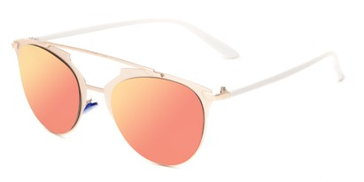 Angle of Westmoore #8294 in Gold/White Frame with Pink Mirrored Lenses, Women's Round Sunglasses