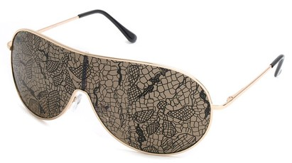 Angle of SW Lace Style #3200 in Gold Frame with Amber Lenses, Women's and Men's