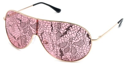 Angle of SW Lace Style #3200 in Gold Frame with Pink Lenses, Women's and Men's