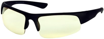 Angle of Gamers Edge Sport Wrap Style #48 in Black Frame with Tinted Lenses, Women's and Men's
