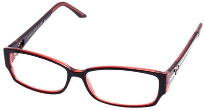 Angle of SW Clear Style #2900 in Brown and Red Frame, Women's and Men's