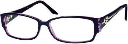 Angle of SW Clear Style #2900 in Black and Purple Frame, Women's and Men's