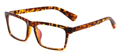 Angle of Gage #5419 in Brown Tortoise Frame with Clear Lenses, Women's and Men's Retro Square Fake Glasses