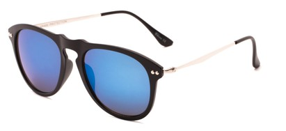 Angle of Galley #3883 in Matte Black/Silver Frame with Blue Mirrored Lenses, Women's and Men's Round Sunglasses