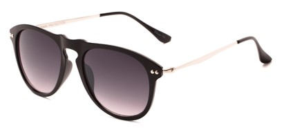 Angle of Galley #3883 in Glossy Black/Silver Frame with Smoke Lenses, Women's and Men's Round Sunglasses