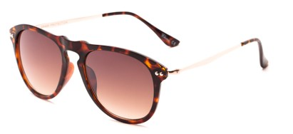 Angle of Galley #3883 in Tortoise/Gold Frame with Amber Lenses, Women's and Men's Round Sunglasses