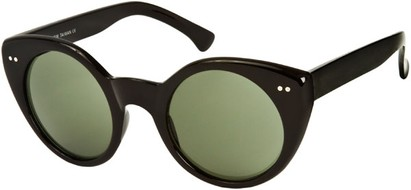 Angle of SW Cat Eye Style #1816 in Black Frame with Green Lenses, Women's and Men's