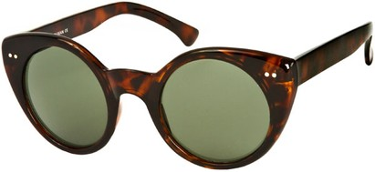 Angle of SW Cat Eye Style #1816 in Brown Tortoise Frame with Green Lenses, Women's and Men's