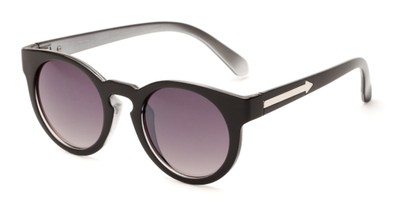 Angle of Giza #6811 in Black Frame with Grey Lenses, Women's Round Sunglasses