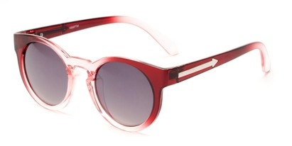 Angle of Giza #6811 in Red Fade Frame with Grey Lenses, Women's Round Sunglasses