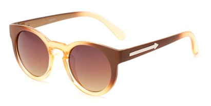 Angle of Giza #6811 in Brown Fade Frame with Amber Lenses, Women's Round Sunglasses