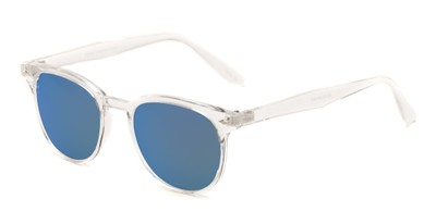 Angle of Glacier #127 in Clear Frame with Blue Mirrored Lenses, Women's and Men's Retro Square Sunglasses