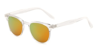 Angle of Glacier #127 in Clear Frame with Yellow/Orange Mirrored Lenses, Women's and Men's Retro Square Sunglasses
