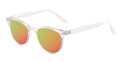 Angle of Glacier #127 in Clear Frame with Pink/Orange Mirrored Lenses, Women's and Men's Retro Square Sunglasses