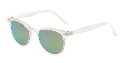 Angle of Glacier #127 in Clear Frosted Frame with Blue Mirrored Lenses, Women's and Men's Retro Square Sunglasses
